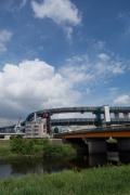 小机大橋と建設中の首都高速・横浜北線