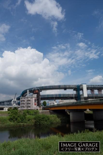 小机大橋と建設中の首都高速・横浜北線の無料写真