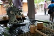伊豆修善寺の修禅寺の温泉の手水舎