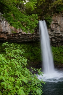 水量豊富で豪快な萬城の滝と緑