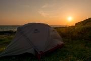 MSRのテントでの海岸キャンプ