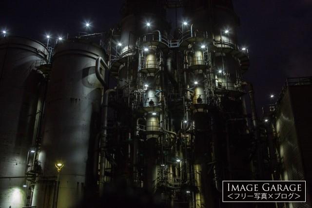 水江運河・東亜石油精製プラントの工場夜景の無料写真