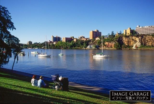 ボタニックガーデンから見るブリスベン川のフリー素材写真(無料)