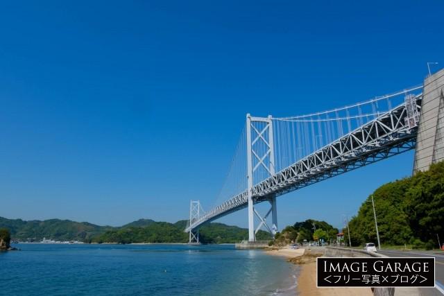 しまなみ海道2番目の因島大橋のフリー素材写真(無料)