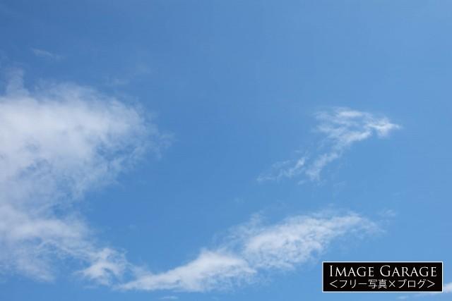 少しだけ雲のある4月の青空のフリー写真素材
