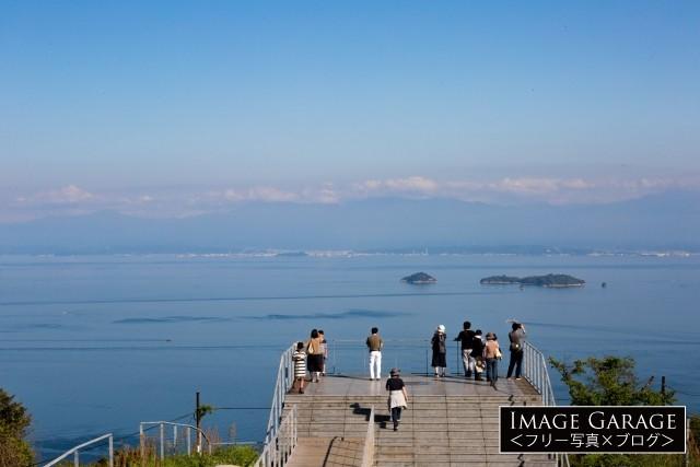 亀老山展望公園より燧灘と四国連山を望むのフリー素材写真(無料)