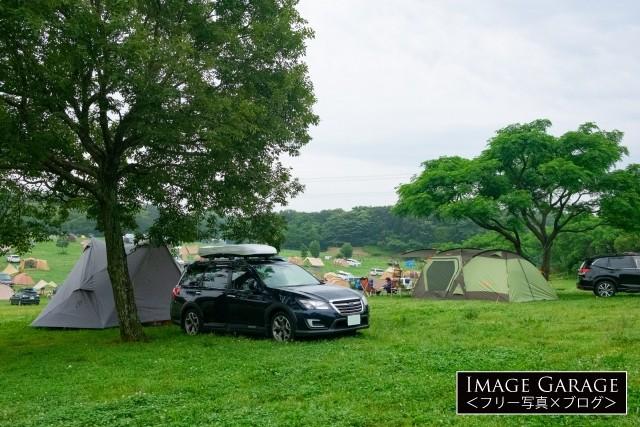 森のまきばキャンプ場のオートキャンプ風景のフリー素材写真(無料)