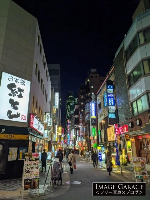 飲み屋の看板が輝く新橋の通りのフリー素材写真(無料)