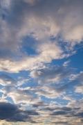 青空と雲のコントラストが美しい夕方の空(縦位置)