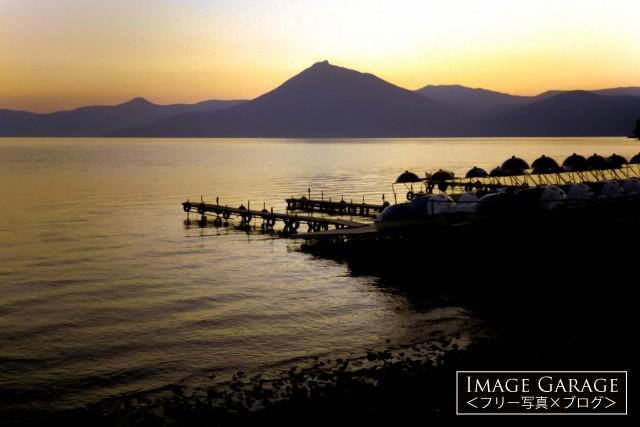 支笏湖の夕焼のフリー素材写真(無料)