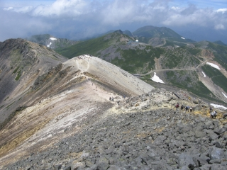 乗鞍岳・剣ヶ峰山頂から眺めた登山道