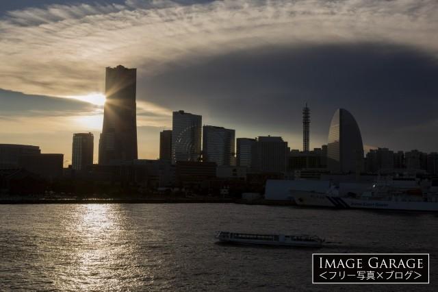 大桟橋から見るサンセットタイムのみなとみらいのフリー素材写真(無料)