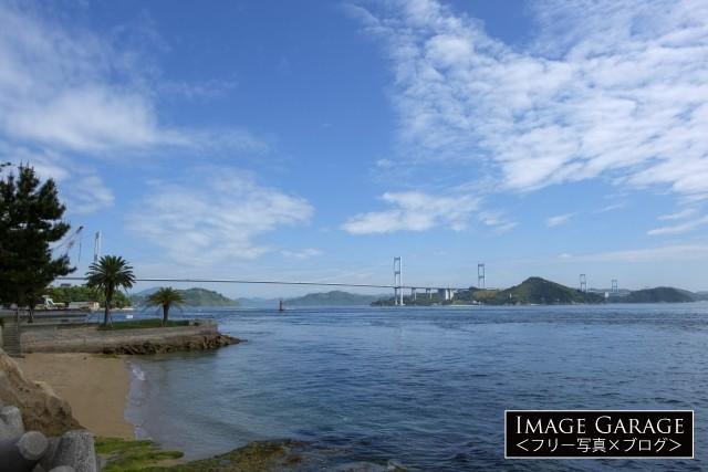 桧垣鉄工所前から見る来島海峡大橋のフリー素材写真(無料)