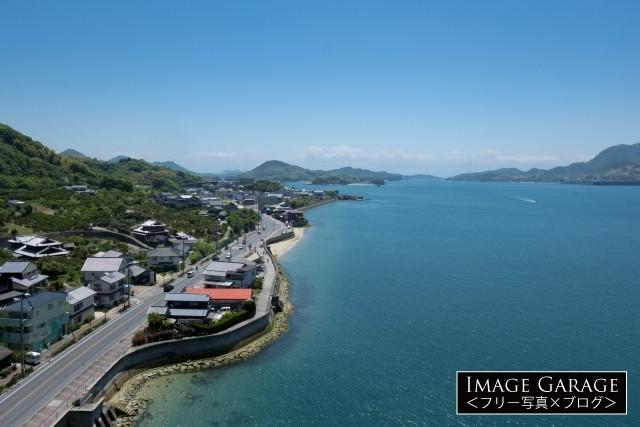 生口橋から見た生口水道・しまなみ海道のフリー写真素材(無料)