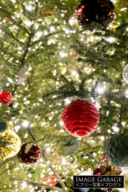 キラキラのクリスマスツリーのアップのフリー写真素材(無料)