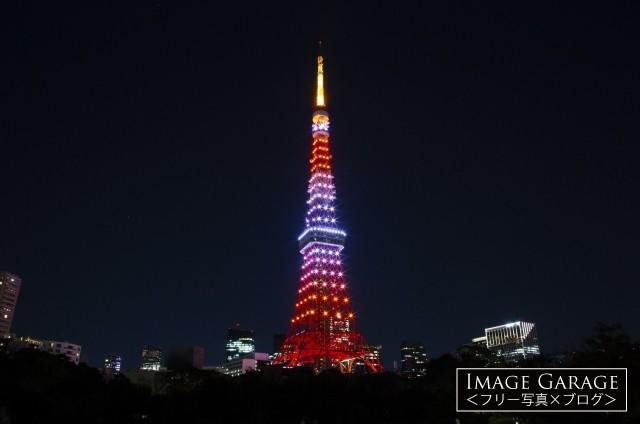 茜色にライトアップされた10月の東京タワーのフリー写真素材
