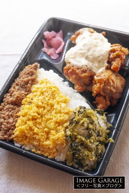 コンビニ弁当(3色そぼろ&チキン南蛮弁当)のフリー写真素材