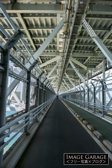 しまなみ海道・因島大橋の自転車道(歩道)のフリー写真素材