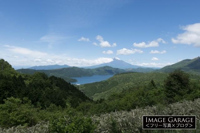 箱根・大観山展望台から眺める富士山と芦ノ湖のフリー写真素材(無料)