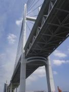 真下から見た横浜ベイブリッジとスカイウォーク