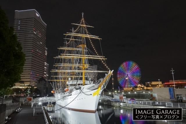 日本丸メモリアルパークに係留されている日本丸のフリー画像(無料写真素材)