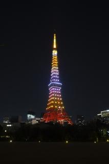 LEDでライトアップされた1月黄金色の東京タワー