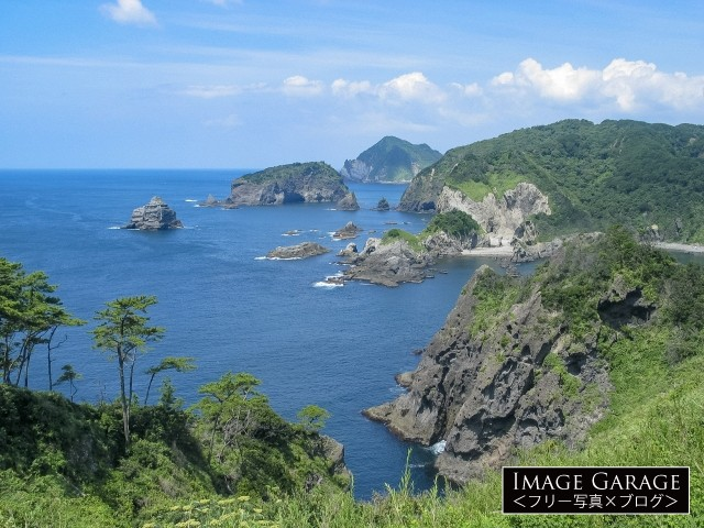 奥石廊・あいあい岬から眺める海のフリー写真素材(無料)