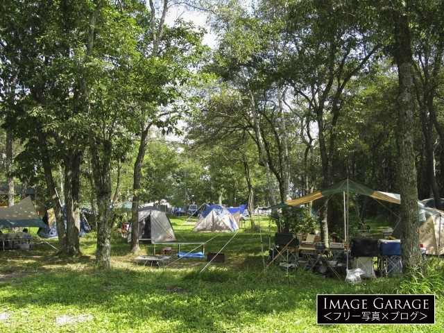 滝沢牧場キャンプ場のフリーサイトのフリー画像(無料写真素材)