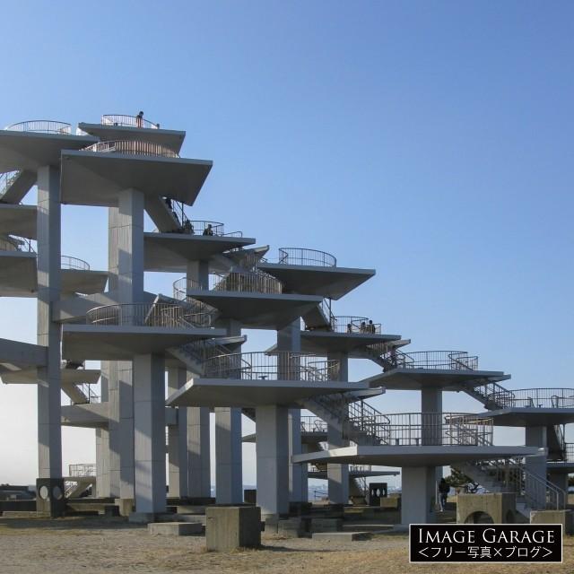富津岬にある明治百年記念展望塔のフリー写真素材(無料)