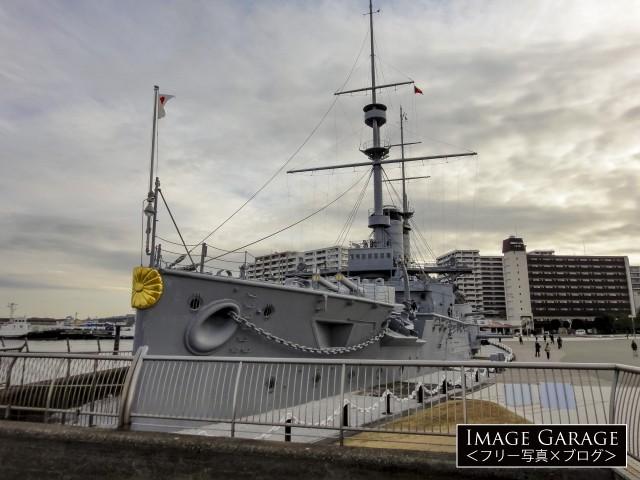 現存する世界最古の鋼鉄戦艦・三笠のフリー写真素材(無料)