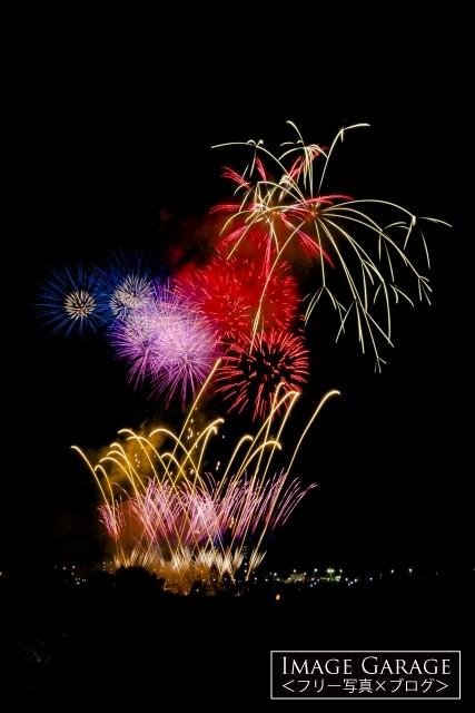 夜空を彩る花火・川崎市制記念多摩川花火大会のフリー画像(無料写真素材)