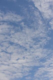 10月の雲が多めの青空(縦位置)