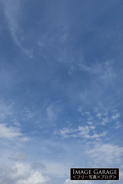 行き感のある10月の青空(縦位置)のフリー写真素材(無料)
