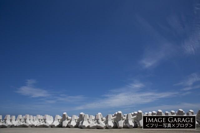 設置前のテトラ(消波ブロック・ラグナⅣ)のフリー写真素材