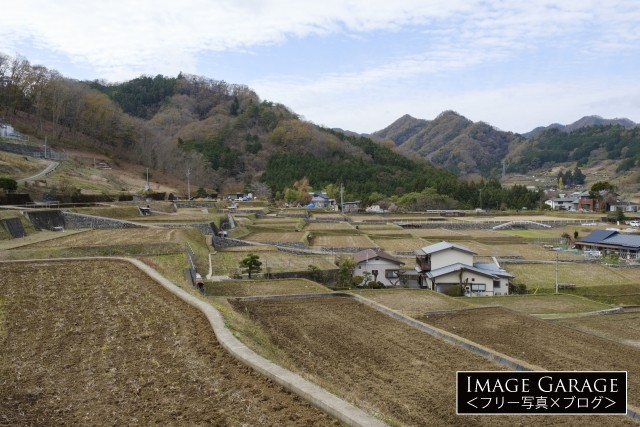 秋山・富岡地区の棚田のフリー写真素材
