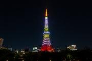 フレッシュな雰囲気の4月の新緑色の東京タワー