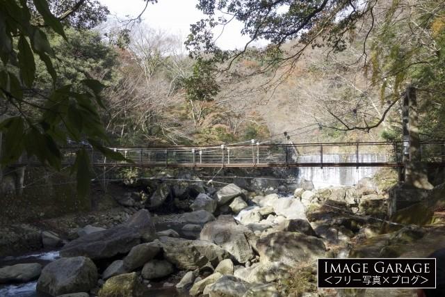 箱根堂ヶ島渓谷遊歩道・桜橋のフリー写真素材(無料)