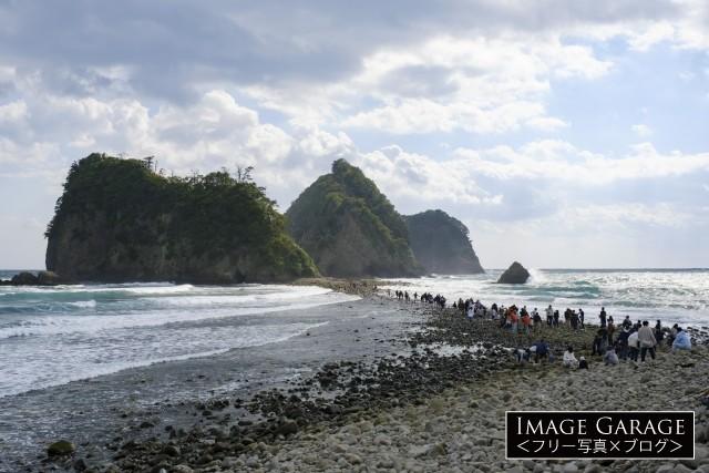 堂ヶ島の三四郎島とトンボロのフリー写真素材(無料画像)