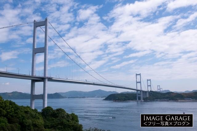 来島海峡大橋(サンライズ糸山より)のフリー写真素材(無料画像)