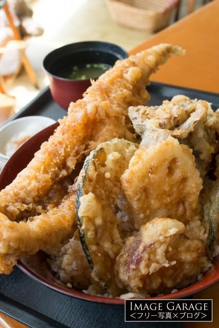 お食事処はくさいの天丼のフリー写真素材(無料画像)