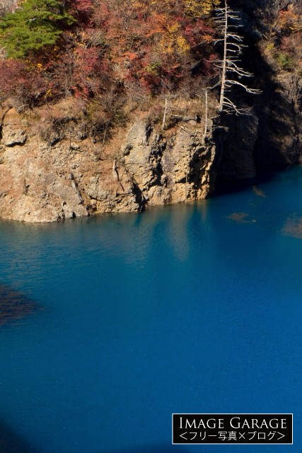 奥四万湖の四万ブルーのフリー写真素材(無料画像)