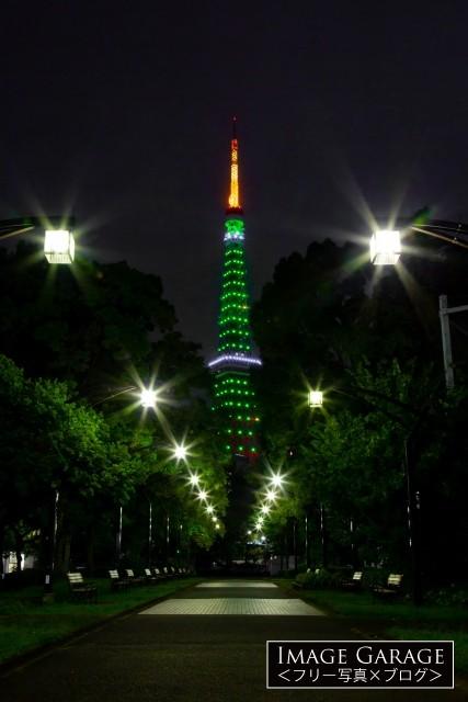緑色の東京タワーのライトアップのフリー画像(無料写真素材)