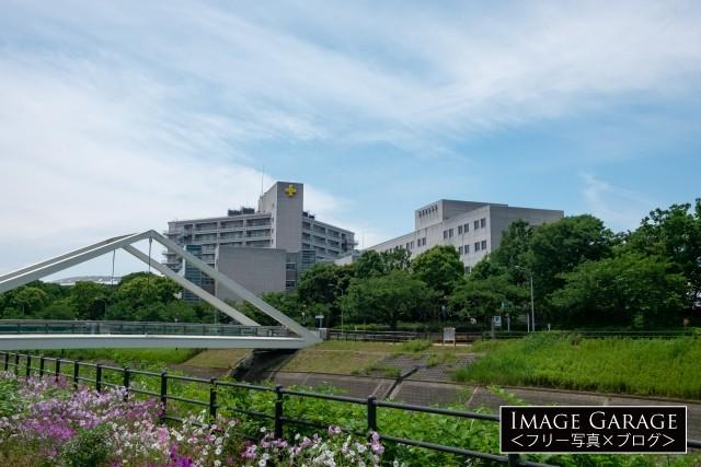 横浜労災病院とさんかくはしのフリー写真素材(無料画像)